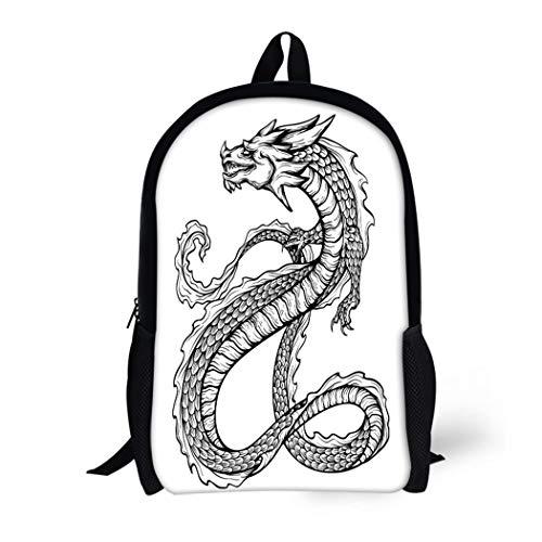 (Pinbeam Backpack Travel Daypack Black Chinese Dragon Long Scaly Tail Sketch Waterproof School Bag)