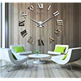 Alrens_DIY(TM)Time Letters Roman Numerals Luxury Large Size Modern DIY Frameless Quartz 3D Large Big Mirror Surface Effect Wall Clock Oversized Clock Removable Home Decoration Living Room Décor Wall Sticker Decal Meeting Room Office Creative Art Watches Decor-3 Colors (Gold)
