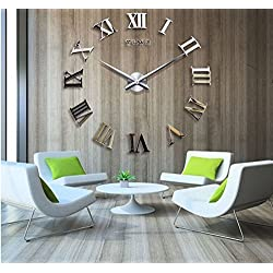 Alrens_DIY(TM) Luxury Roman Numerals Digits Time Large Hands Modern DIY Frameless 3D Big Mirror Surface Effect Wall Clock Watches Home Office Decoration Self-adhesive Wall Sticker Decor Creative Art (MQ-004-Gold)