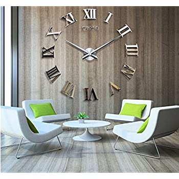 Time Letters Roman Numerals Large Size Modern DIY Frameless 3D Big Mirror Surface Wall Clock Oversized