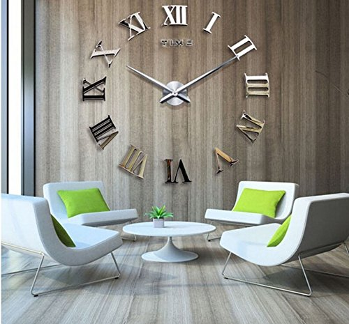 Time Letters Roman Numerals Large Size Modern DIY Frameless 3D Big Mirror Surface Wall Clock Oversized Clock Removable Home Decoration Living Room Décor Wall Sticker Meeting Room Watches Decor - Oversized Mirror Gold