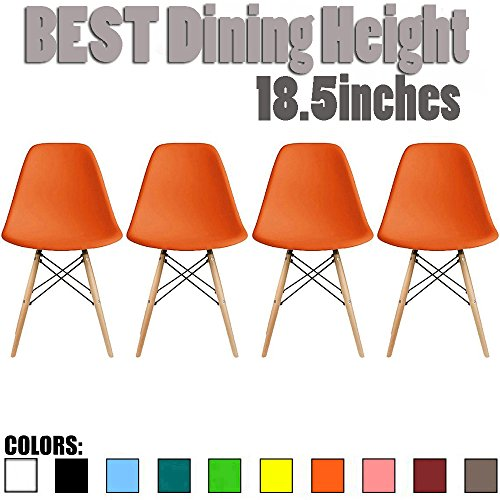 Height Side Chair (2xhome - Set of Four (4) Orange - NEW SEAT Height 18.5