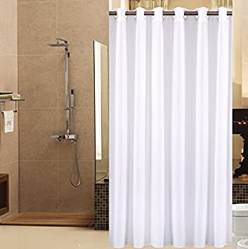Sfoothome Light Beige and White Flowers Pattern, Mildew Proof and Waterproof Polyester Fabric Macrocyclic Hookless Shower Curtain for Bathroom (90 * 180cm)