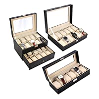 Ohuhu® 12-Slot Leather Watch Box / Watch Case / Jewelry Box /Watch Jewelry Display Storage with Glass Top and 12 Removal Storage Pillows, Black - Ideal Gift for Mother's Day and Father's Day!