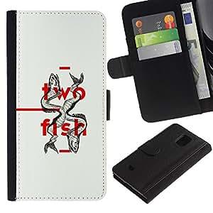 Billetera de Cuero Caso Titular de la tarjeta Carcasa Funda para Samsung Galaxy S5 Mini, SM-G800, NOT S5 REGULAR! / Two Fish Minimalist Design Deep / STRONG
