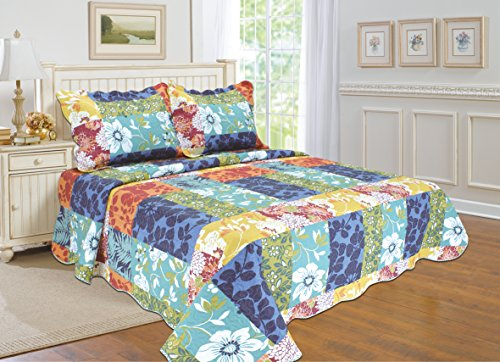 "ALL FOR YOU 2pc Reversible Bedspread, Coverlet,Quilt Set-Flower and Patchwork Prints-Twin size-68""x 86"""