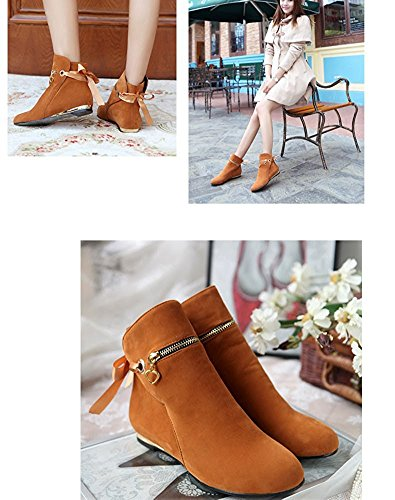 Yellow Zip Shoes Shorty Ankle Chelsea Block Low Ladies Heel Flat Winter Boots Maybest Womens Autumn w0AxOp76q