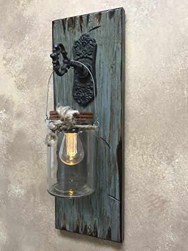 Wall SCONCE Edison Light with Battery Operated LED Bulb with 6 Hour Timer in Rustic Mason Canning Glass JAR & KEY Hook - Reclaimed Country Distressed Decor - Antique Cream Red Blue