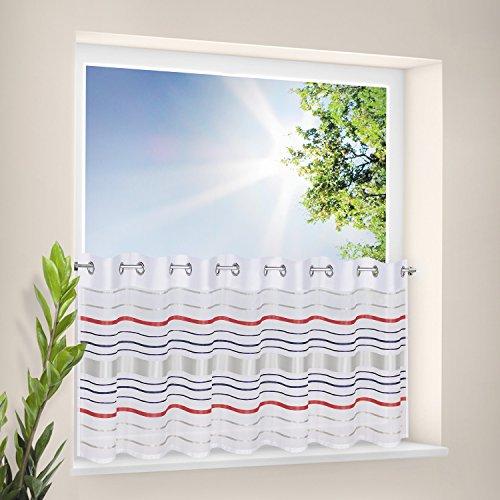 Gardine / Panneau / Scheibengardine / Bistrogardine mit Ösen MUBO / B/H: 150x 50cm / horizontale Streifen / transparente Qualität (rot)
