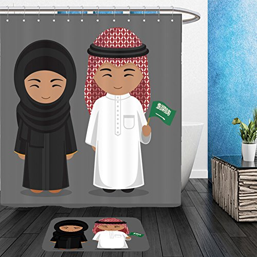Jewish Lady Costume (Vanfan Bathroom 2 Suits 1 Shower Curtains &  1 Floor Mats travel to saudi arabia people in national dress with a flag man and woman in traditional costume 494297059 From Bath room)