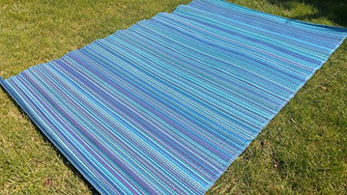 Santa Barbara Collection 100% Recycled Plastic Outdoor Reversable Area Rug Rugs Blue Navy Purple Stripes san1002blue 5'11 x 9'3 - Made in USA (Usa Made Patio Furniture)