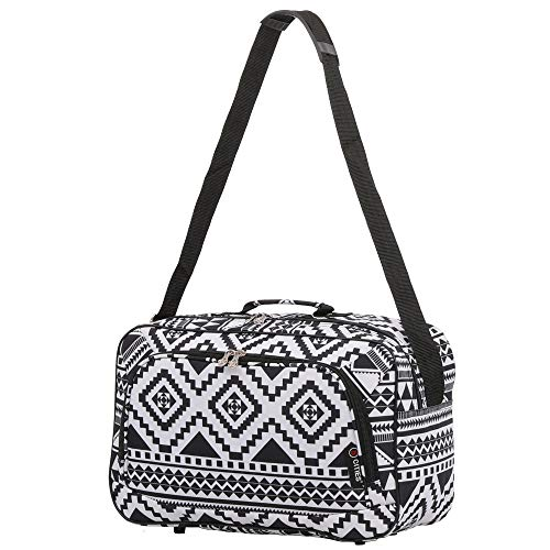 16 Inch Carry On Hand Luggage Flight Duffle Bag, 2nd Bag or Underseat, 19L (Black Aztec)