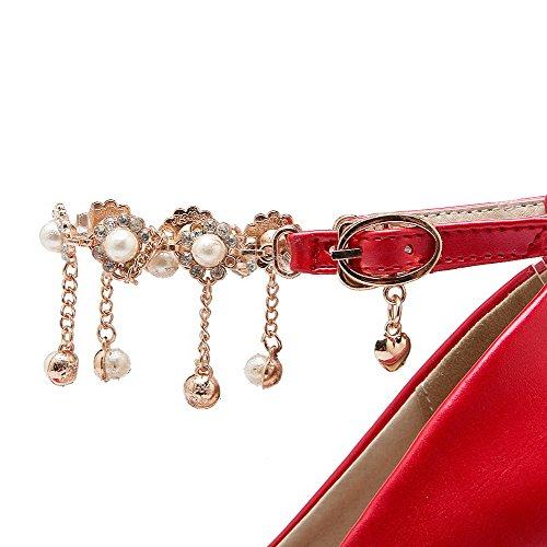 AllhqFashion Damen Rund Zehe Hoher Absatz Weiches Material Rein Schnalle Pumps Schuhe Rot