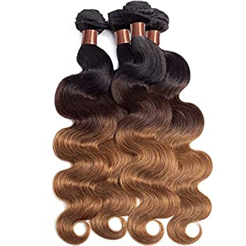 Image of ANGIE QUEEN Hair Brazilian Virgin Hair Body Wave Ombre Hair Weft 14 16 18 20inch 4 Bundles 100% Unprocessed Human Hair Weaves Extensions 95-100g/pc (#1b/#4/#30) Health and Household
