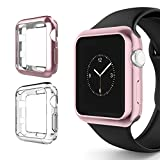 watch bumper - Apple Watch Series 3 Case 38mm, Alritz Soft Slim TPU Protective Case Flexible Anti-Scratch Bumper Cover for Apple Watch Series 1/2/3 (Rose Gold)