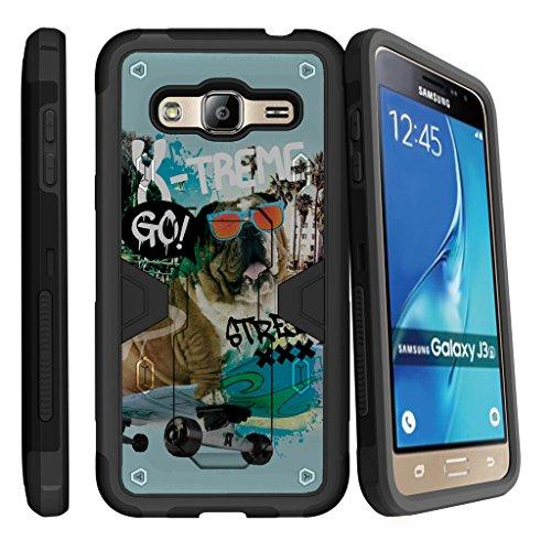 Samsung J3 Case| Express Prime Case| Amp Prime Case| Sol Case| J3 V (Verizon) [MAX DEFENSE] Heavy Duty Armor Clip Case with Kickstand by Miniturtle® - Skateboard Bulldog (Armor Express Bulldog compare prices)