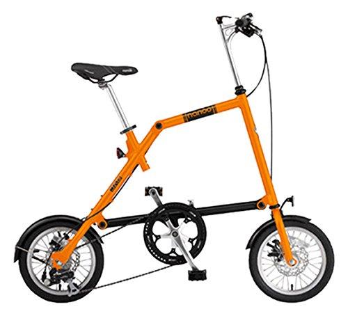 NANOO(ナノー) 折りたたみ自転車 14インチ アルミフレーム シマノ8段変速 前後ディスクブレーキ 56T大型チェーンホイール 前後ライト/フレームバッグ/フレームバッグ付属 B016U82XI2 オレンジ オレンジ