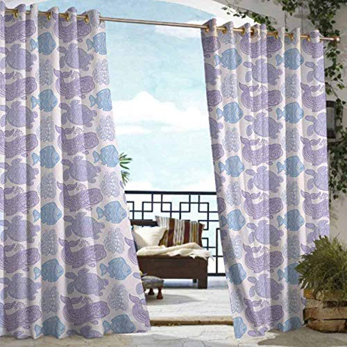 DILITECK Grommet Curtain Whale Sea Turtle Water Plant and Fish in Doodle Style with Paisley Mehndi Motifs Waterproof Patio Door Panel W72 xL96 Purple Pale Pink Blue