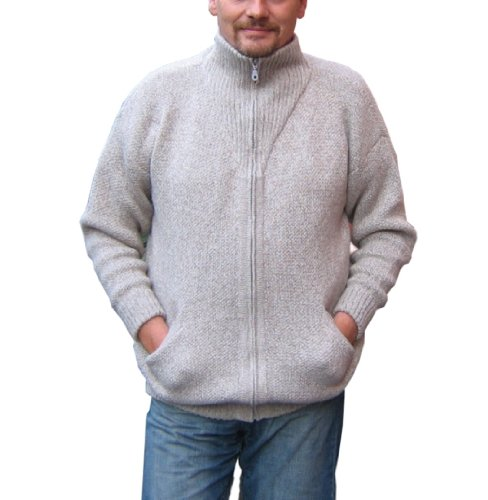 Alpakaandmore Mens Thick Alpaca Wool Cardigan, Grey Sweater (Large)
