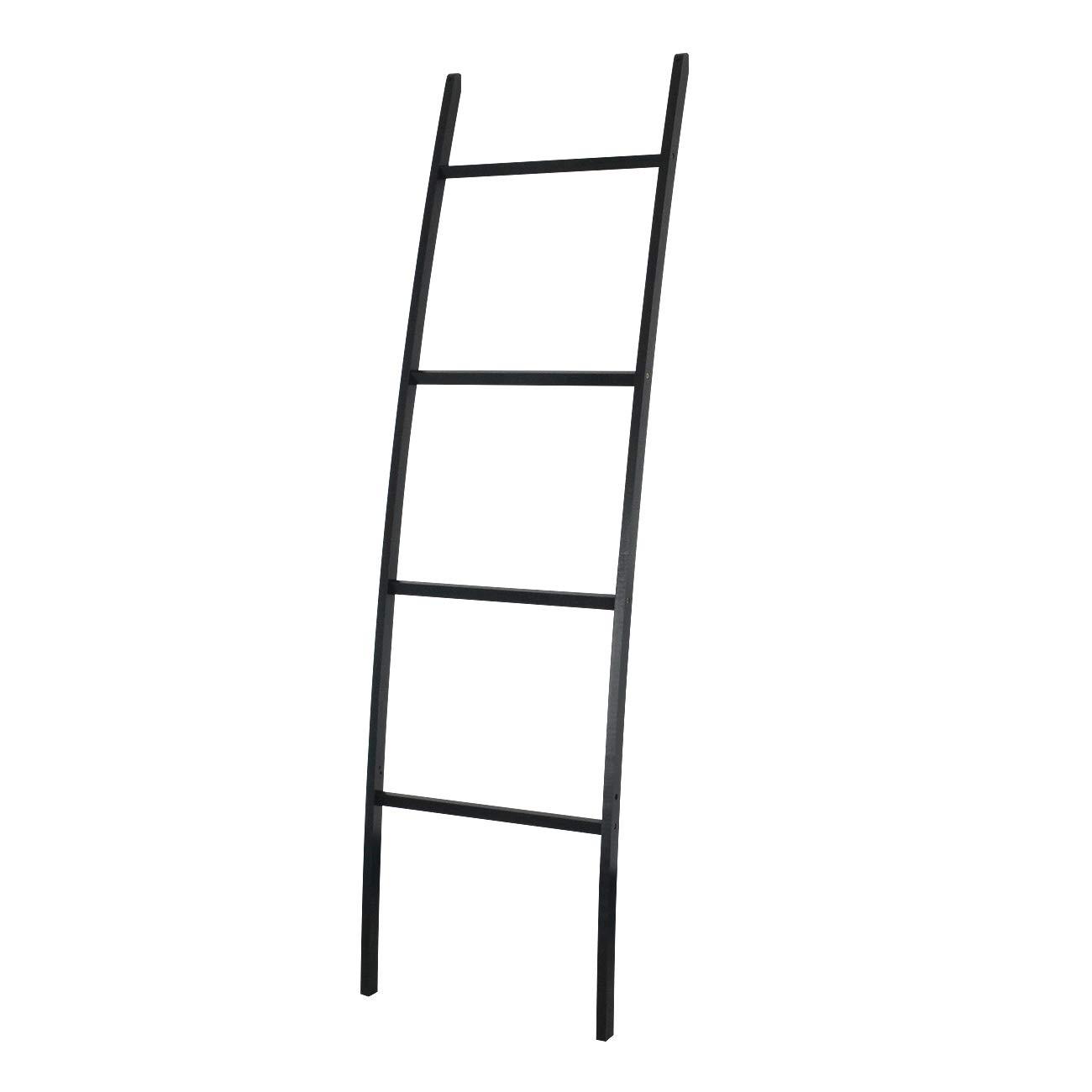Negro para Cuarto de ba/ño bamb/ú ZRI bamb/ú Color marr/ón sal/ón Muy Elegante Toallero de bamb/ú con 4 Barras 50 x 2 x 170 cm
