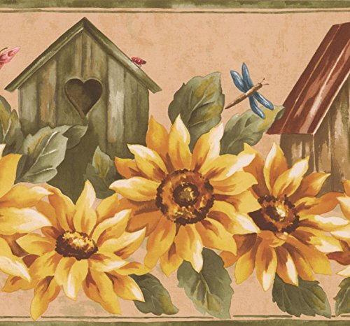 Birdhouses Wallpaper Border - Yellow Sunflower and Birdhouse Floral Wallpaper Border Retro Design, Roll 15' x 9''