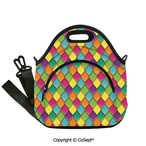 Multipurpose Neoprene Lunch Bag,Vivid Colored Stained Glass Style Pattern Wavy Lines Curves Oval Shapes Modern Decorative,Lunch Boxes Container Tote(12.59x6.29x12.59 inch) Multicolor]()