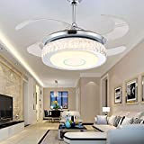 Tipton Light Sliver LED Invisible Ceiling Fan Bedroom Dining Room Living Room European Style Household Silver Ceiling Fan Light