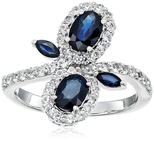 Sterling Silver Blue Sapphire and Created White Sapphire Bypass Flower Ring, Size 7 White Sapphire Flower Ring