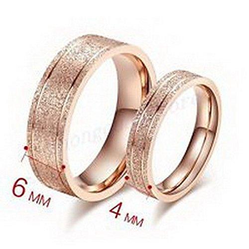 Alex Sand Bands - jacob alex ring 6/4MM Width Titanium Steel Band Wedding Ring Size6 Sand 10Kt Rose Gold Filled