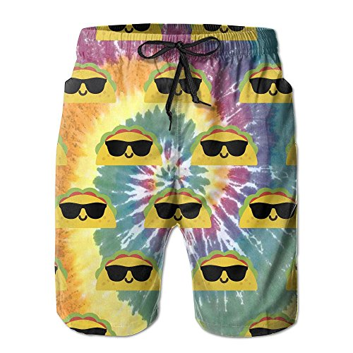 Taco Tie Dye Mens Basic Boardshorts M With Pocket by OIYP