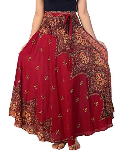 Bustle Taffeta (Lannaclothesdesign Women's Long Maxi Ankle Lenght Skirt Boho Skirts (One Size, Burgundy Peacock Flower))