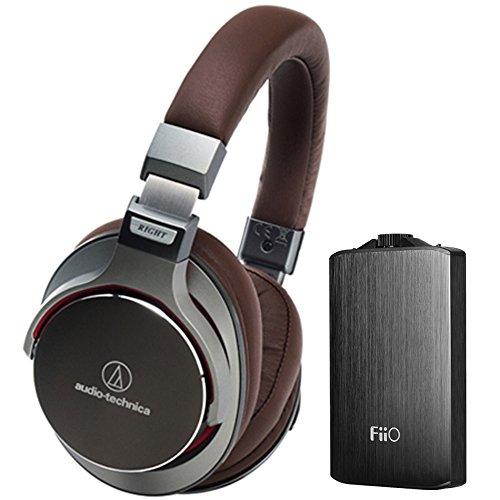 Audio-Technica SR7 SonicPro Over-Ear High-Resolution Audio Headphones with FiiO A3 Portable Headphone Amplifier, Gun Metal Black
