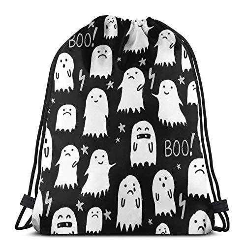 Ghost Black And White Halloween_4817 3D Print Drawstring Backpack Rucksack Shoulder Bags Gym Bag for Adult 16.9
