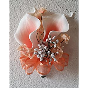 Coral Ivory Calla Lily Corsage or Boutonniere 9
