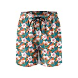 Tropical Pattern White Hibiscus Flowers Mens Breathable Beach Shorts Drawstring