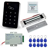 LIBO Stand-Alone Door Access Control System Kit Set with 180kg/350lbs Electric Magnetic Lock, DC12V/3A Power Supply, Door Exit Release Button, 10pcs RFID EM ID Keyfobs
