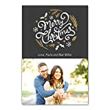 30 Christmas Family Photo Card Black Gold Wreath Couples Greeting Personalized Cards Photo Paper
