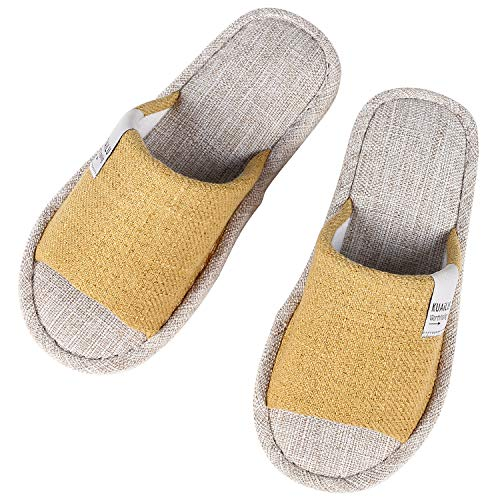 Flax House Slippers for Women Summer Open Toe Indoor Slippers YL-M Yellow