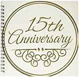 3dRose db_154457_2 15th Anniversary Gift Gold Text for Celebrating Wedding Anniversaries 15 Years Married Together Memory Book, 12 by 12-Inch