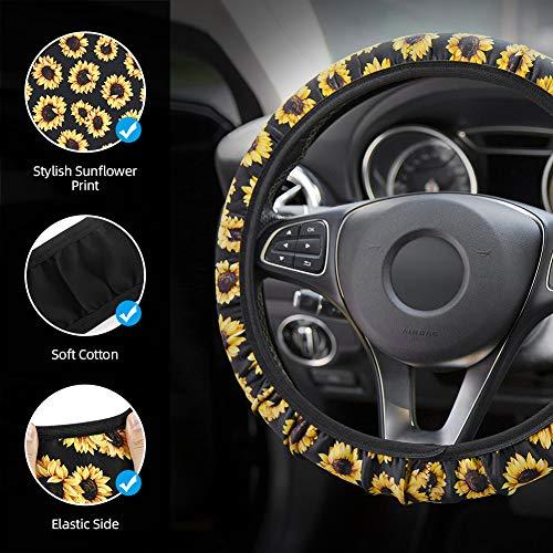 Sunflower Car Accessories Set, INTSUN 10Pcs Cute Car Accessories Set for Women and Man, Include Sunflower Steering Wheel Cover, Car Vent Decorations, Seat Belt Shoulder Pads and Keyring