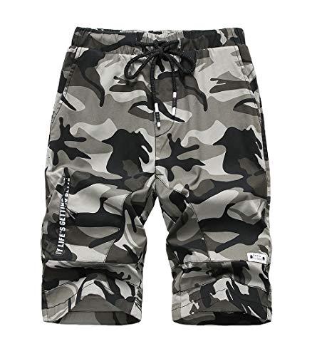 LAUSONS Short Garcon Camouflage - Bermuda Enfant Garçon été - Pantalon Court Militaire Slim Chino Shorts 1