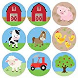 Barnyard Farm Animals Birthday Party Favor Stickers - 180 Labels