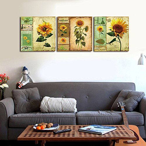 Shuaxin Modern Cartoon Sunflower Print on Canvas 12*12inch 3pcs/set Stretched Framed Ready for Hang Home Living Room Bedroom Decor
