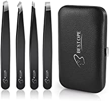 BESTOPE Eyebrow Tweezers Set, 4 Sets Stainless Steel Tweezers With Slant Tweezers, Pointed Tweezers and Straight Tweezers for Eyebrows Plucking, Facial Body / Ingrown Hair Removal-Packed in Leather Case