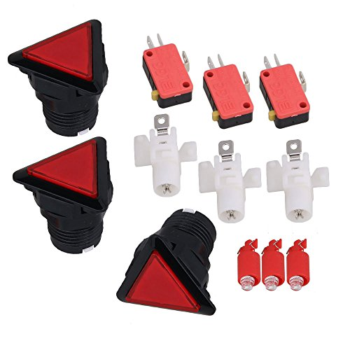 Red Arcade Video Game LED Light Triangle Microswitch Push Button