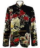 Moonlight - Asian Crane, Long Sleeve, Mandarin Collar, Black & Red Colored Asian Themed Woman's Top
