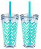 copco water tumbler - Copco 2510-0433 Minimus Chevron Tumbler with Straw, 24-Ounce, Cyan Blue, Pack of 2