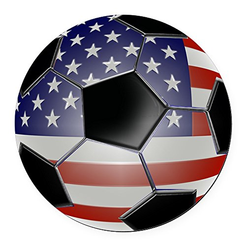 CafePress - 2-ussoccerball Round Car Magnet - Round Car Magnet, Magnetic Bumper Sticker ()