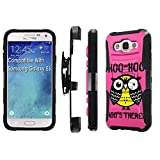 Galaxy [E5] Armor Case [SlickCandy] [Black/Black] Heavy Duty Defender [Holster] [Kick Stand] Phone Case - [Hoo is There Owl] for Samsung Galaxy E5