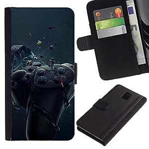LECELL--Cuero de la tarjeta la carpeta del tirón Smartphone Slots Protección Holder For Samsung Galaxy Note 3 III -- Controlador de juego de Smash --